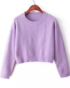 Shop Purple Long Sleeve Crop Knit Sweater online. Sheinside offers Purple Long Sleeve Crop Knit Sweater & more to fit your fashionable needs. Free Shipping Worldwide!