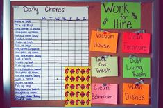 Monthly chore chart for my 7-year old 1. You do not get paid for daily chores. 2. You do get paid for extra help around the house. (1 work for hire per day)  3. You cannot earn the extra money until your daily chores are finished.  4. You get a $5 allowance at the end of every week, but for every chore that is missing a sticker, you lose $.25.  5. You do not get reminded to do your chores which makes you accountable for the money you do or do not earn.