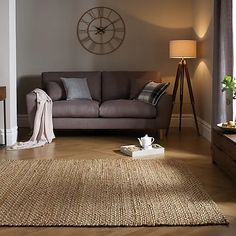 Rugs In Living Room, Living Room Decor, Living Spaces, Jute Rug, Woven Rug, Brown Sofa, Living Room Inspiration, Traditional Rugs, My New Room