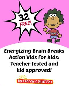 FREE! Energize your children with these inviting, kinesthetic brain breaks.  Here's a collection of 32 of the most popular, fun and energizing brain breaks videos. They are top picks by children and teachers!   #brainbreaks