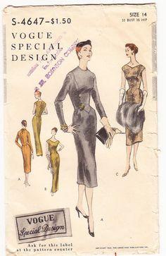 Vintage 1955 Vogue S4647 Special Design by SewUniqueClassique, $55.00