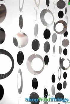 Hoops Silver & Black Beaded Curtain