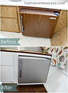 Lance & Kristin's Pop Up Camper Makeover - The Pop Up Princess - A coat of appliance spray paint can make a tired RV fridge look brand new. Camper Hacks, Diy Camper, Camper Storage, Camper Ideas, Popup Camper Remodel, Camper Renovation, Camper Remodeling, Pop Up Camper Trailer, Camper Trailers