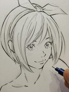 Felt Tip Ink Drawing of Anime Manga Girl