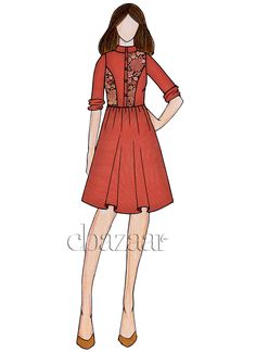 Buy Calypso Coral Cotton Closed Collar Kurti online, SKU Code: This Pink color After Six knee length kurti for Women comes with Kalamkari Blended Cotton. Dress Design Sketches, Fashion Design Drawings, Fashion Sketches, Designer Kurtis Online, Fashion Illustration Dresses, Clothing Patterns, Fashion Art, Collar Kurti, Designer Dresses