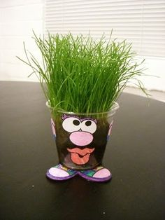 little grass garden man