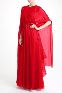 Valentino Chiffon Caped Gown in Red     jaglady