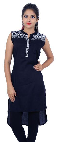 Black Tunic & Flared Style Women Ethnic Kurti