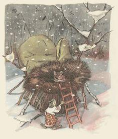 Evgenii Rachev : The Mitten Old Children's Books, Kids Story Books, Fairytale Art, Naive Art, Children's Book Illustration, Book Illustrations, Bedtime Stories, Conte, Light In The Dark