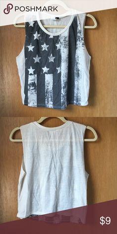 American flag muscle tank Distressed American flag with rhinestone stars Tjmaxx Tops Tank Tops