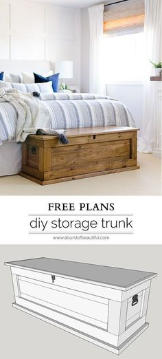 This DIY blanket storage chest will fit beautifully into any space and provides great additional storage for items such as blankets, pillows and toys. It can also be used as a coffee table, bench in an entryway or at the foot of a bed. It's simple, clean Diy Furniture Projects, Diy Wood Projects, Pallet Furniture, Home Projects, Furniture Design, Furniture Stores, Modern Furniture, Cheap Furniture, Rustic Furniture