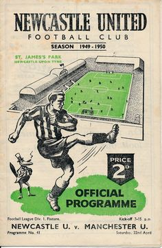 Newcastle v Man Utd 1949/50 - match Programme