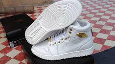 the best attitude 553a8 e5dda Air Jordan 1 Pinnacle White Metallic Gold Alligator Leather 2018 New  Arrival Shoe