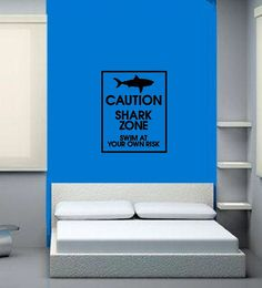 Vinyl Wall Decal Shark Zone Swim at Your by CuttinUpCustomDieCut, $25.00