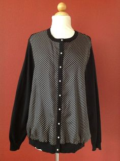 RALPH LAUREN Black Polka Dot Silk Blend Pearl Button Cardigan Sweater 2X PLUS #RalphLauren #Cardigan