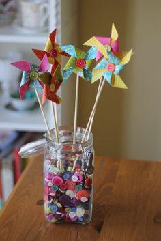 Set of 6 Custom Pinwheels - Wedding Table Centerpiece or Cake Toppers