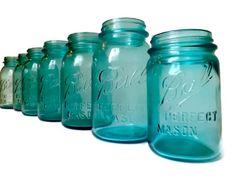 Set of 7 Vintage Blue Ball Perfect Mason Jars Wedding Decor Tiffany Blue Turquoise Aqua. $55.00, via Etsy.
