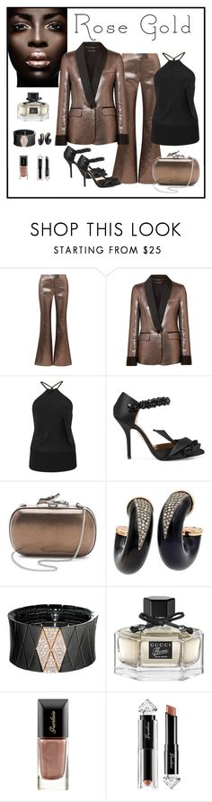 """Rachel Zoe Toni Metallic Jacquard Blazer & Pant Look"" by romaboots-1 ❤ liked on Polyvore featuring Rachel Zoe, Roland Mouret, N°21, Diane Von Furstenberg, Roberto Demeglio, Gucci and Guerlain"