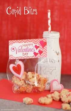 Cupid Bites for Valentine's Day with printable! Easy shortbread recipe with sprinkles. Filled some wilton bags and printed a Valentine's Day bag topper!