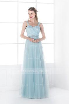 Shoulder Strap Lace Bodice Long Tulle Bridesmaid Dress