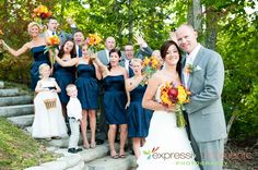 Navy and grey?  Love the flower girl's dress.