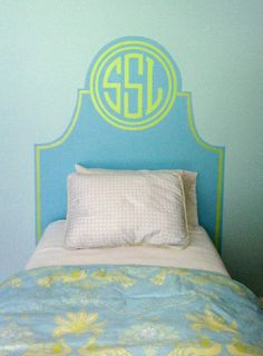 The pelican girls love a monogram on anything--paint your own headboard on My New Room, My Room, Dorm Room, Wall Headboard, Glazed Walls, Up House, Dorm Life, Little Girl Rooms, Houses