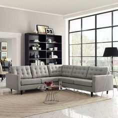 - Empress 3 Piece Fabric Sectional Sofa Set in Light Gray