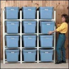 PVC pipe organizer for storage bins