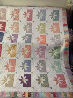 """24 Blocks - """"Shadow Daisy"""" for Pat Reaid Sister Love the soft colors in this quilt!"""
