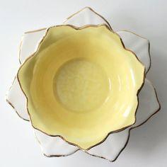 Porcelain butter yellow petalshaped vintage by LittleLadderVintage, $24.50