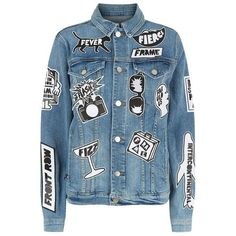 Frame Le Original Tour Patch Denim Jacket (49,825 INR) ❤ liked on Polyvore featuring outerwear, jackets, tops, denim, coats & jackets, blue jean jacket, patched denim jacket, denim jacket, polka dot jacket and blue denim jacket