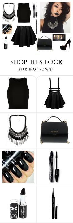 """""""Dark Is Awesome"""" by rockiesleppie ❤ liked on Polyvore featuring River Island, Christian Louboutin, Givenchy, Lancôme, Marc Jacobs, Maybelline and Dark"""