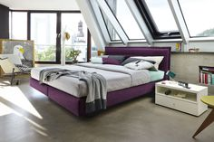 #purple #boxspring #bed #bedroom #now!byhuelsta #hulsta #now!boxspring