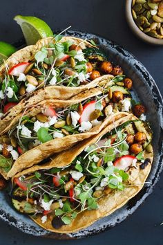 Mole-Spiced Chickpea & Grilled Zucchini Tacos--easy to make completely vegan.
