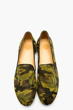 H BY HUDSON Green Suede Camo Safi Loafers