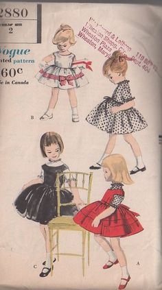 MOMSPatterns Vintage Sewing Patterns - Vogue 2880 Vintage 50\'s Sewing Pattern SPLENDID Toddler Girls Full Circle Skirt, Ribbon Band Trim, Round Yoked Tie Back Shirley Temple Fancy Party Dress, Jumper Set Size 2