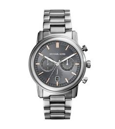 MICHAEL KORS LANDAULET SILVER-TONE STAINLESS STEEL WATCH $275.00 STORE STYLE #: MK8369 A tried-and-true timepiece with a twist. Our Landaulet watch is a curated blend of classic and modern. This dependable essential features chronograph dials, a date window and distinctive rose gold-tone accents for an unforgettable look. Give your formal attire a new lease of life and sport this extra with a timeless tuxedo for a standout finish.