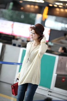 New Arrival Dolman Sleeve Loose Knitting Sweater Apricot