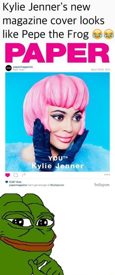 Kylie Jenner's New Magazine Cover Looks Like Pepe The Frog! http://ibeebz.com