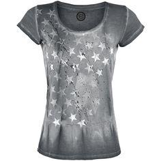 """R.E.D. by EMP T-Shirt, Frauen """"Splattered Stars"""" grau • EMP"""