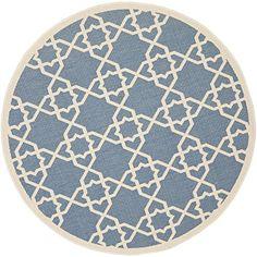 Safavieh CY6032-243 Courtyard Collection Indoor/Outdoor Area Rug, 5-Feet 3-Inch Round, Blue/Beige Safavieh