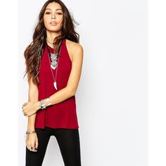Lira High Neck Backless Tank Top ($11) ❤ liked on Polyvore featuring tops, burgundy, reversible jersey, relaxed fit tops, burgundy top, jersey tops and rayon tops