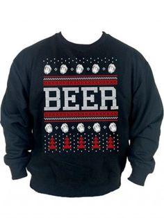 """Unisex """"Beer"""" Christmas Sweatshirt by Cartel Ink (Black)"""