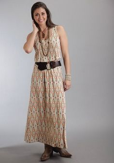 Diamond Aztec Print Maxi Dress #country #dress