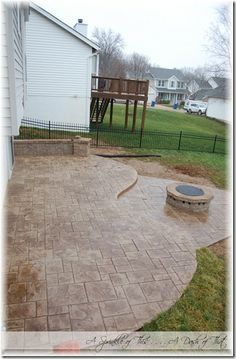 Backyard Stamped Concrete Patio {A Sprinkle Of This . . . . A Dash Of