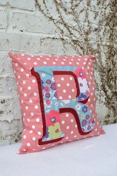 Beautiful letter R monogrammed cushion by minimanna on Etsy, £23.00