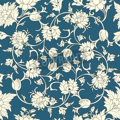 Seamless pattern chinese and white elements in blue background mural