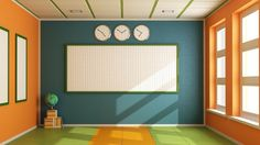 A no furniture, empty, orange and green classroom with sun shining through from large rectangular windows, a large checkered whiteboard on the back wall, and three circular clocks above it