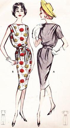1950s Dress Pattern Butterick 9003 Boat Neck por NeenerbeenerKnits