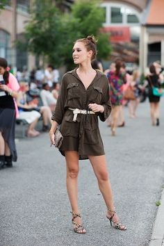 I wear so much army green / military styles... I should buy more leopard print shoes to pair with them. Via Sartorialist